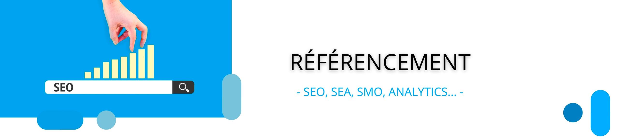 bannière référencement SEO, SEA, SMO, google analytics